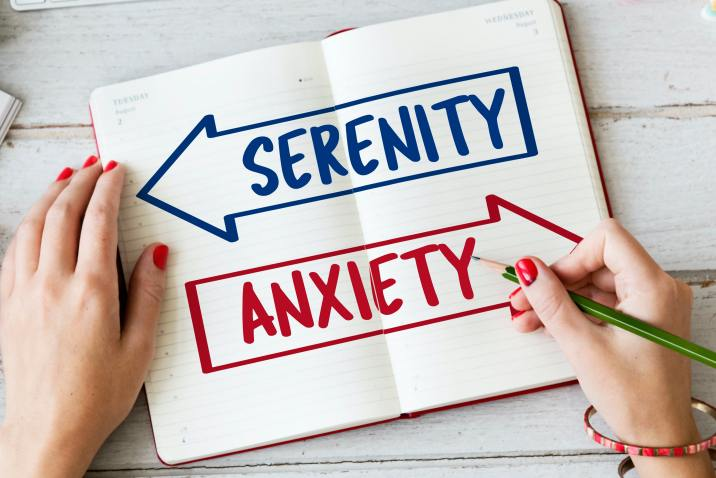 Sign showing Anxiety vs Serenity