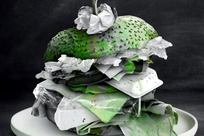 Hamburger made of trash - eating safely