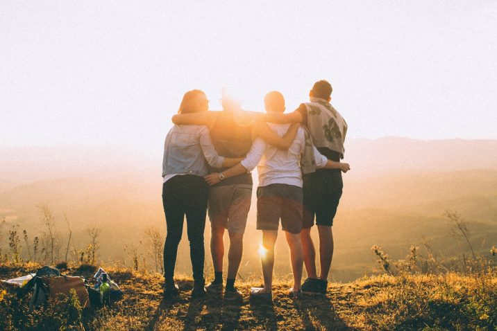 Friends watching the sunset