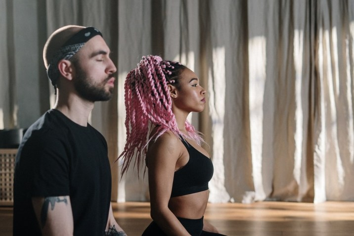 Couple practicing guided meditation imagery