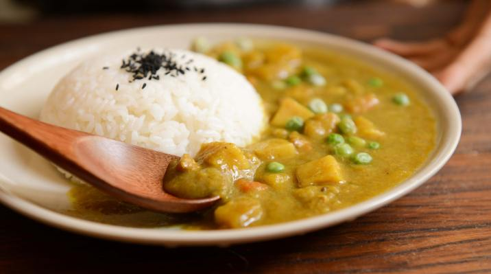 Yogic cooking - curry food with rice