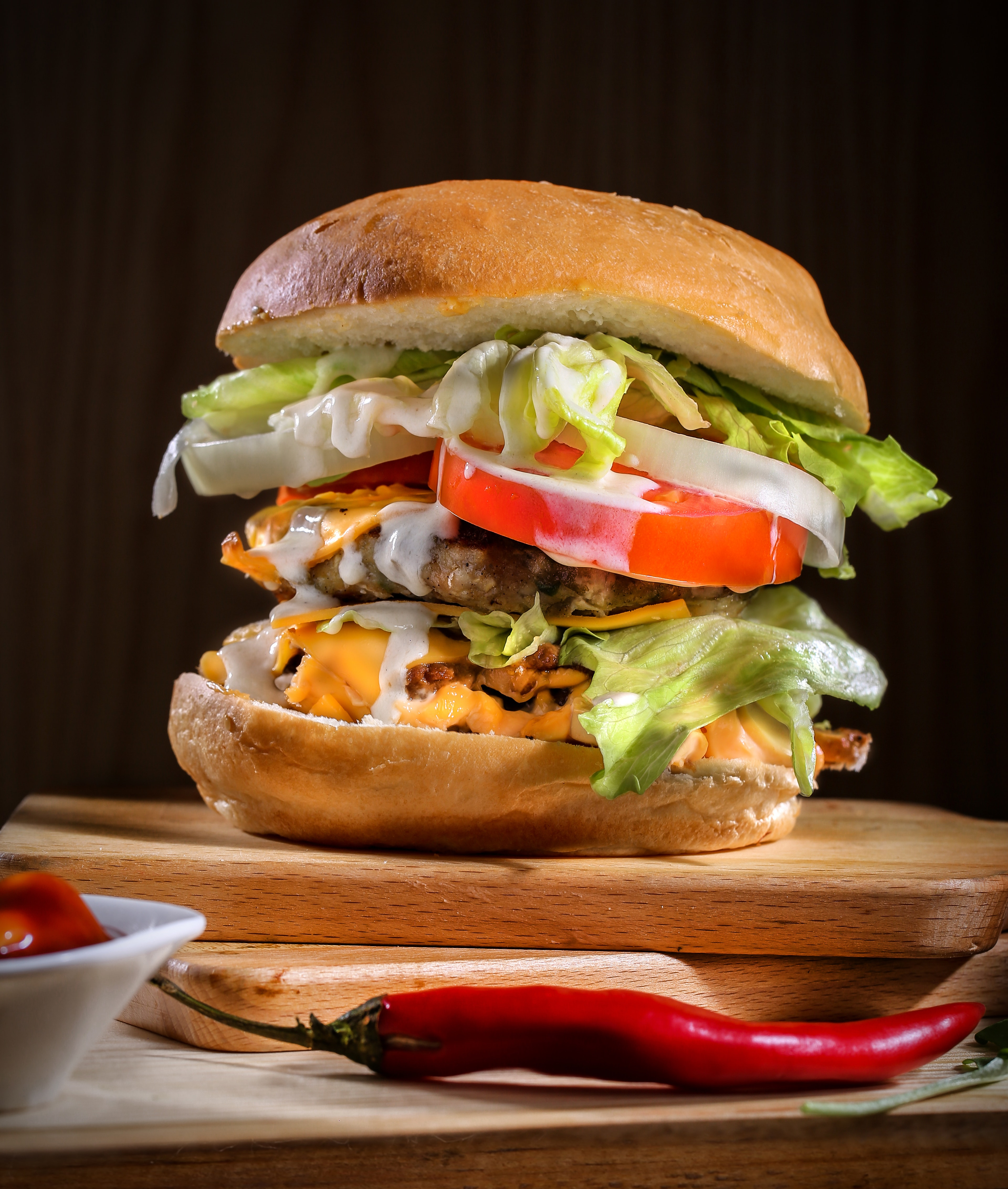 Unhealthy beef burger