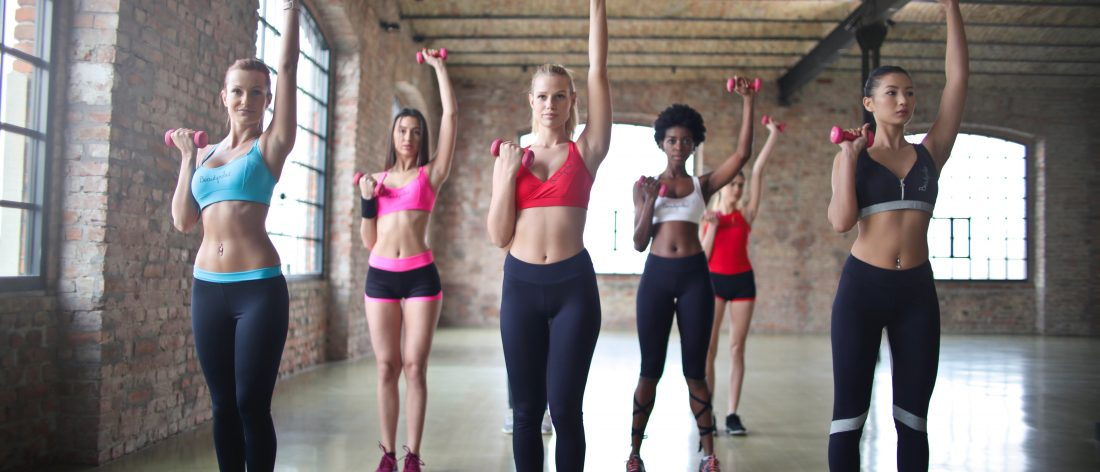 Group of women, working out
