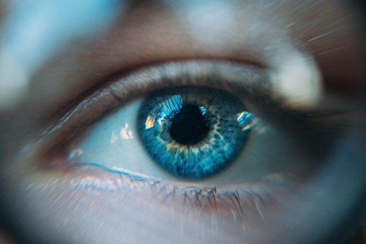 A brilliant blue eye