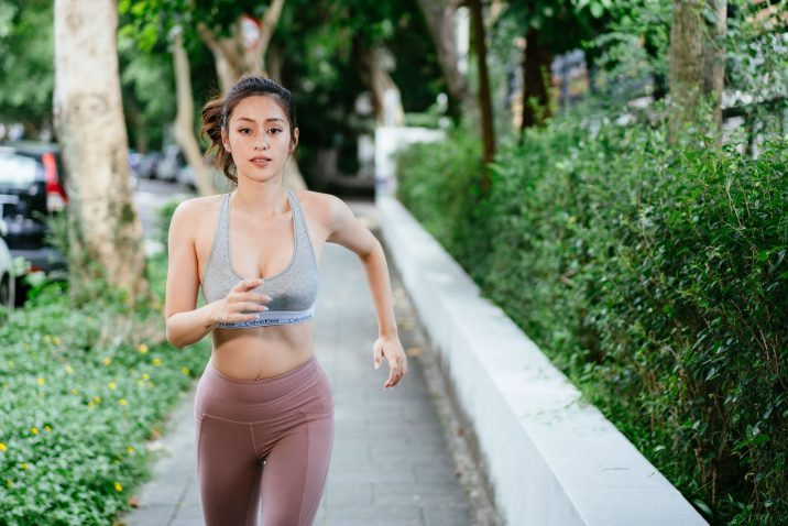 Fit woman running