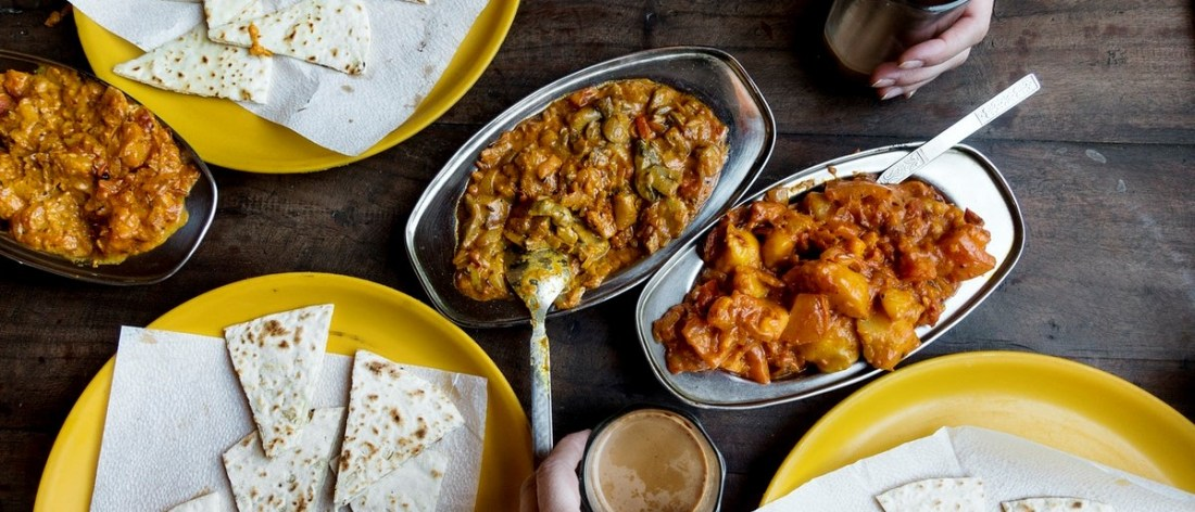 Dishes of Indian food with Masala curry
