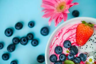 Bowl of yogurt and fruit as healthy food for colon