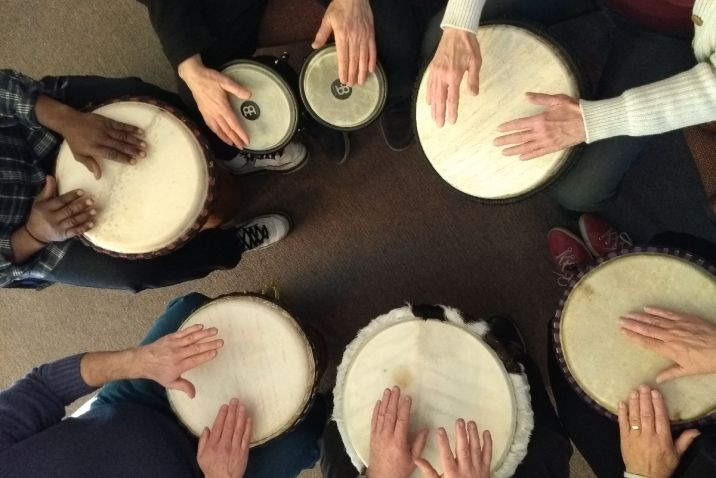 Peoples hand on drums in a Drum Circle