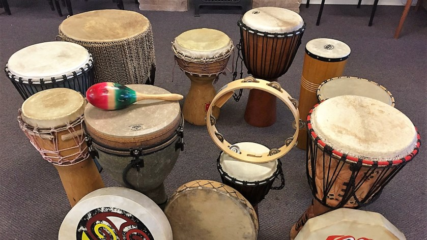 Drums ready for a drum circle