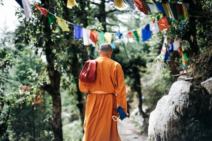 Hymn to Silence - Monk walking on path silent