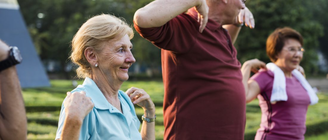 Older people exercising to lose weight