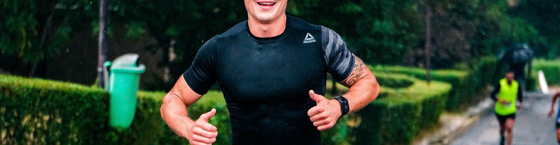 Healthy man, finishing a race