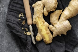 Some raw ginger, partially peeled