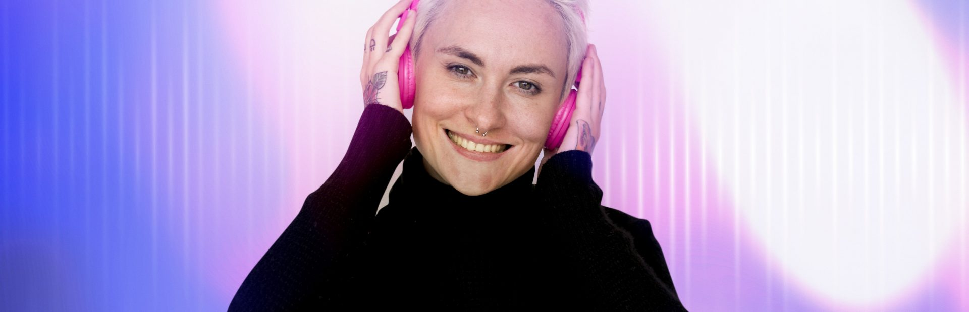 Woman listening to music thinking positive thoughts
