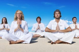 People pausing, meditating and focusing on their selves